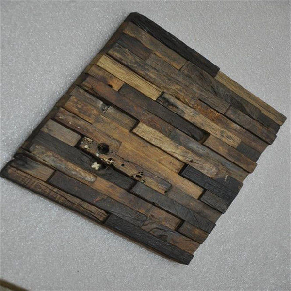 Boat Wood Mosaic Wall Panels , 3D Ceiling Tiles For Hotel Decoration
